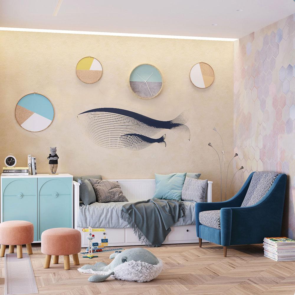 Детская с китами на стенах