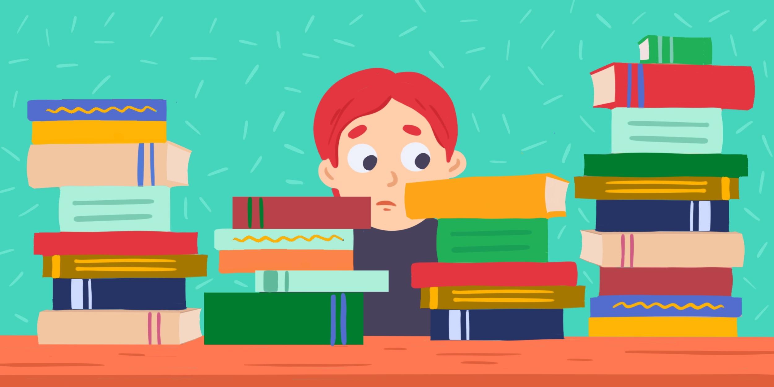 Ребенок завален книжками