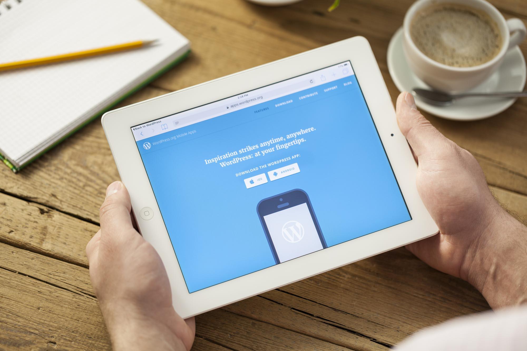 сайт wordpress на планшете