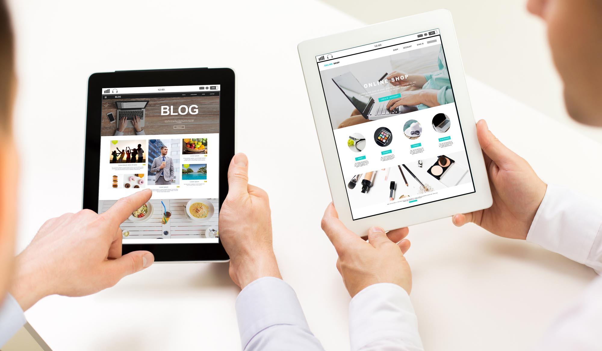 Просмотр сайтов на двух планшетах