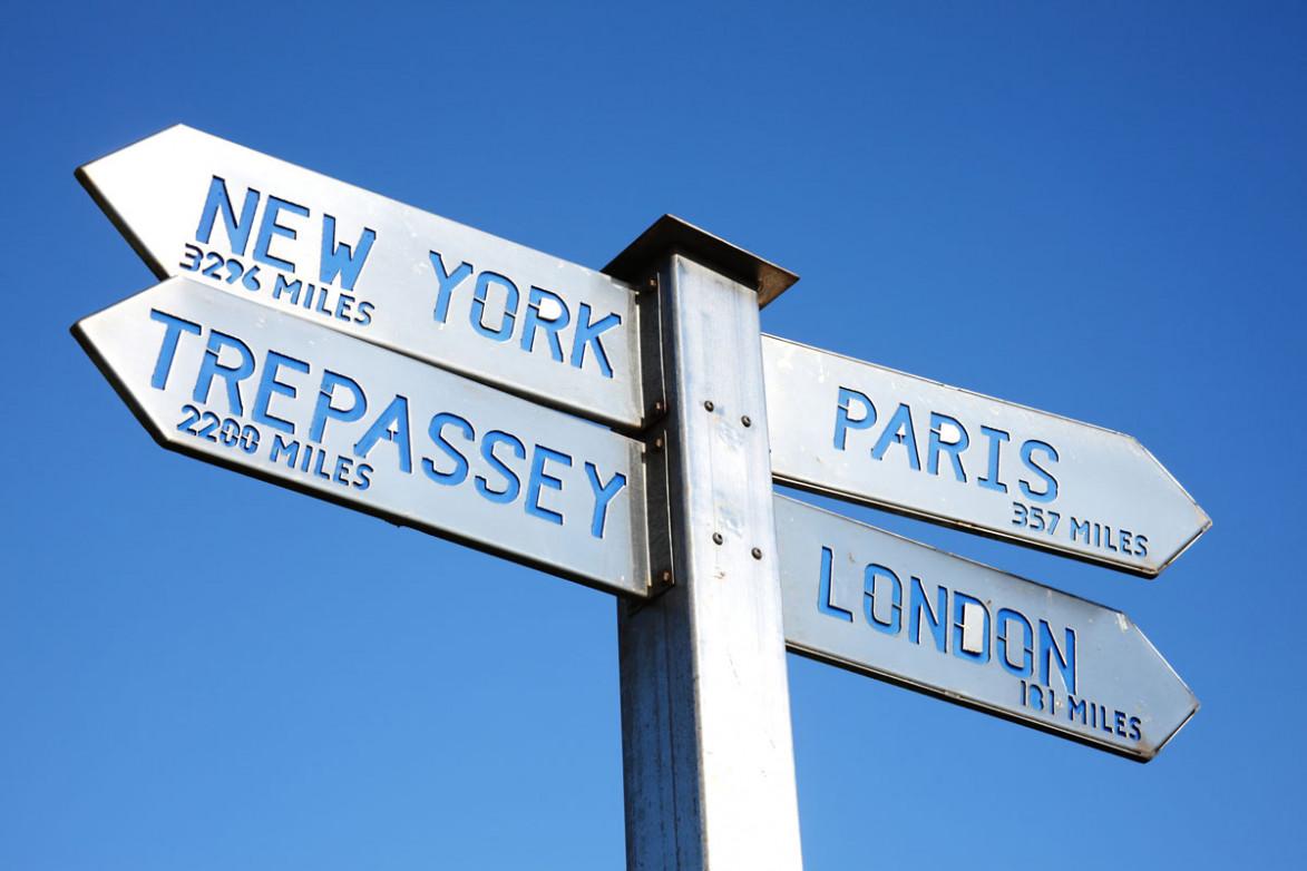 Указатель с расстояниями до разных городов