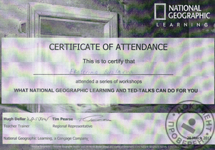 28.03.2017 Сертификат What National Geographic Learning and TED-Talks Can Do For You, Москва