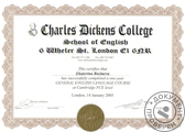14.01.2004-14.01.2005 Charles Dickens College, FCE Level, London