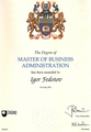Диплом Master of business administration