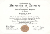 Диплом Колорадского университета (University of Colorado at Denver, США)