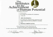 Сертификат The institutes for the achievement of human potential