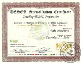 TESOL Specialization Certificate 