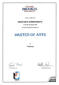 Диплом Oxford Brookes University, Master of Arts