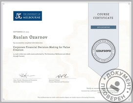 Сертификат по курсу Corporate Financial Decision-Making for Value Creation