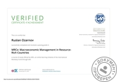 Сертификат по курсу Macroeconomic Management in Resource-Rich Countries offered by International Monetary Fund
