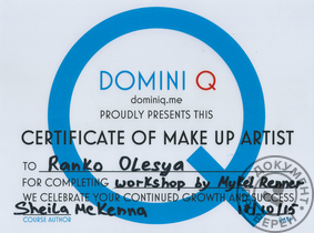 Domini Q Certificate of Make Up Artist Workshop by Mykel Renner