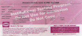 Institutional Test Score Record