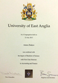 Диплом The University of East Anglia
