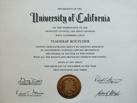 Ph.D., University of California (2003 г.)